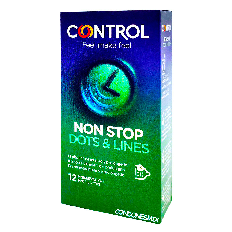 . Control Nuevo condón control con texturas para ella y retardante para él. Prolonga el orgasmo al chico y acelera el de la chica. Nonstop 12 uds .