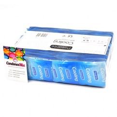 Pasante Preservativos de forma Recta, con efecto frescor para estimular al chico y estrías para la chica. Perfecto ajuste. Preservativos Efecto Frescor