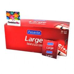 Pasante Preservativo con un ancho superior al normal pero sin llegar a ser XL. Condones más cómodos. De forma Recta. Large 144 uds