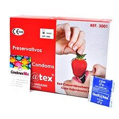Unilatex ¡El preservativo más económico del mercado sabor fresa sin renunciar a la calidad. + cajas + descuento! Condones de color ROJO. Fresa 144 uds