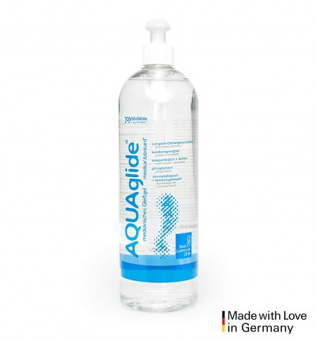 JoyDivision Lubricante a base de agua. Perfecto formato ahorro, si utilizas lubricante a menudo, con dosificador. Aquaglide Gigante 1.000 ml
