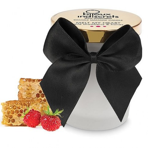 . Bijoux Indiscrets Vela de masaje con aroma a fresa Melt My Heart Dark Strawberry Candle .