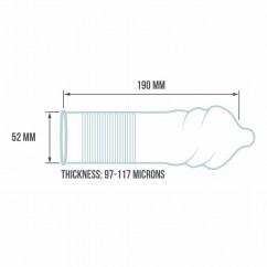 ESP Preservativos con forma anatómica acanalada. Perfecto para estimular a pareja. Con 52 mm de ancho. Tornado Passion 12 Uds