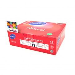 Manix Mates Caja de 144 condones naturales, con forma acampanada, para ganar comodidad y sensibilidad. Natural 144 uds