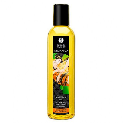 Shunga Aceite de alta calidad, compuesto por los aceites esenciales más naturales. Con aroma a Te Verde, estimulará aquellas zonas en las cuales viertas el aceite. Aceite Organico Sweet Almond