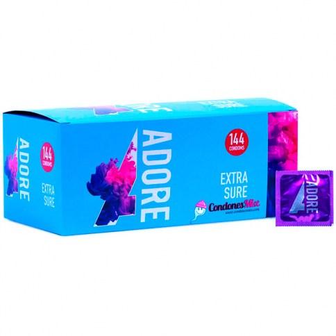 Adore Preservativo económico extra lubricado y con forma anatómica. Recomendado para sexo anal. Calidad 100% garantizada. Naturales 144 uds
