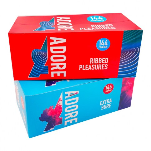 Adore|Pasante 2 Cajas de 144 condones anatómicos y condones estriados. Envío gratis incluido. Oferta 288 Condones