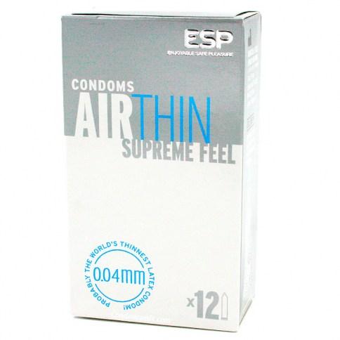 ESP Condones ultra finos, con tan sólo 0,04 mm de grosor, el condón más fino. Forma recta. Air Thin 12 Uds