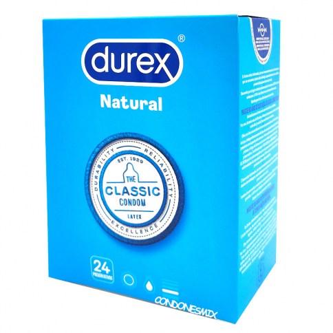 Durex Preservativos anatómicos, más confortables por su forma anatómica. Condones con deposito, más fáciles de colocar que los normales. Natural Plus 24 uds