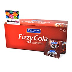 Pasante Caja de 144 preservativos con sorprendente sabor a coca cola. Condón de color marrón y sabor agradable. Coca Cola 144 uds