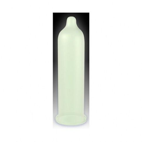 Pasante Condón que brilla en la oscuridad con forma recta y extra lubricado. Fluorescente Glow