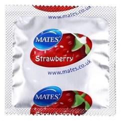 Manix Mates Condones de color rojo con un agradable sabor y aroma a Fresa. Fresa