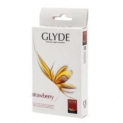 Glyde Condones de color rojo y aroma a dulce fresa. Forma recta para buscar mayor ajuste. Fresa 10 uds