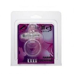 Zahara Anilla vibradora transparente y recargable. Juega con el conejito y estimula el clítoris. Pilas LR41. Anilla Conejo