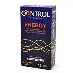 Control Nuevo modelo control, con efecto calor, puntos, estrías y extra sensitivo. Condón estimulante que hará sentir más a tu pareja y tener orgasmos más intensos. Condones Control Energy 12 uds