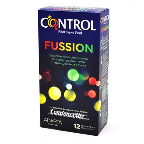 Control Condones de sabor a Chocolate, Menta y Melocotón. Preservativos de colores y aromas muy logrados. Forma adapta para mayor ajuste. Sabores Fusión 12 uds