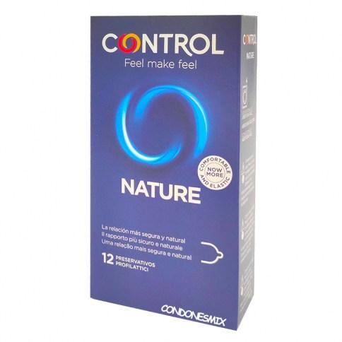 Control Condones tradicionales sin otros añadidos. Con forma recta, un condón natural. Con forma adapta para mayor comodidad y agarre. Condones Nature 12 uds