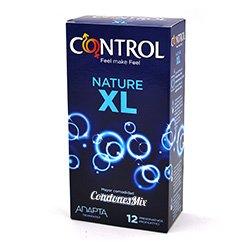 Control Preservativos Control XL, se adaptan mejor a ti, creando mayor sensibilidad. Por si los condones normales se te quedan algo cortos o estrechos, la talla grande es la tuya. Nature XL 12 uds