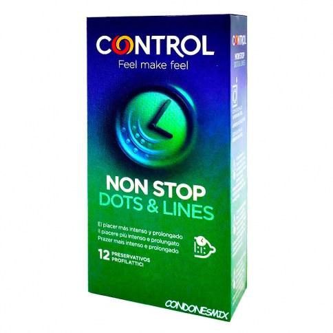 Control Nuevo condón control con texturas para ella y retardante para él. Prolonga el orgasmo al chico y acelera el de la chica. Nonstop 12 uds
