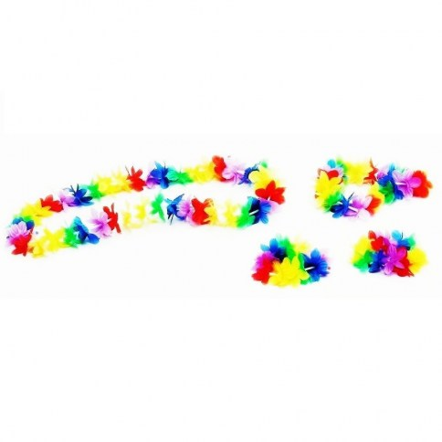 203 Collar + corona + pulsera + tobillera  hawaiana 1