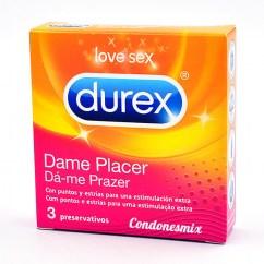 Durex Condones dotados con puntos y estrías para mayor placer. Forma Anatómica, mejor agarre. Preservativos texturizados para sentir más. Dame Placer 3 uds