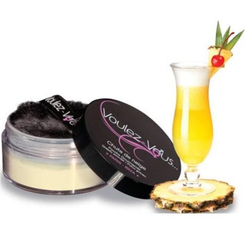 Polvos comestibles sabor Piña colada perfectos para degustar cada rincón del cuerpo.
