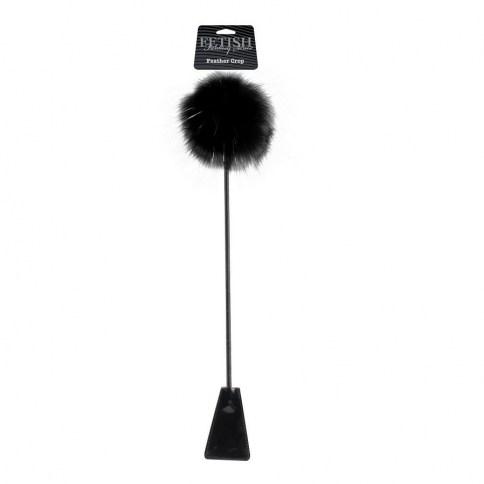 Fusta de doble cara con pluma estimuladora de color negro. Azota a tu pareja o acariciala.