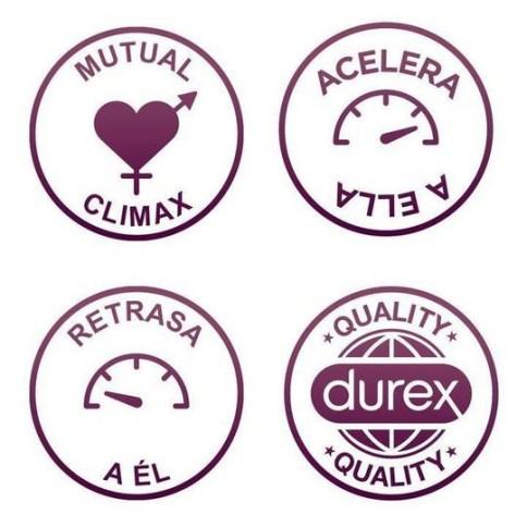 Durex Preservativo diseñado para retrasar el clímax de él y adelantar el de ella. Para prolongar el orgasmo del chico y acelerar el de la chica. Mutual Climax 12 uds