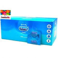 Durex Condón recto, el condón clásico de Durex y el 2º más pequeño. Con 52 mm de anchura nominal y liso. Sin otros añadidos. Basic Natural 144 uds