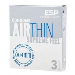 ESP El condón más fino de látex que hay, solo 0,04 mm de grosor, algo que nadie ha conseguido. Forma recta. Air Thin 3 Uds