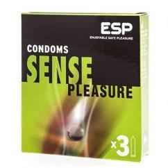 ESP Condón con aceite de coco virgen, con efecto hidratante para mejorar el deslizamiento. Forma recta. Sense 3 Uds