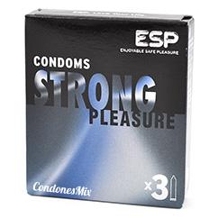 ESP Condón extra seguro y resistente indicado para aquellos que necesitan más seguridad. Condón de forma recta y extra lubricados. Strong 3 Uds