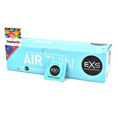 EXS Preservativo de látex más fino del mercado, solo 0.045mm preservativo ultra fino para sentir más en cada roce. Forma Recta. Air Thin Sensitivo 144 uds