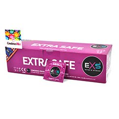 EXS El más seguro de EXS, siendo el más resistente de su gama, indicado para relaciones anales o las cuales requieran más lubricante. Condón recto. Extra Safe 144 uds