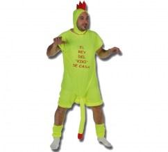 CM Disfraz de gallo que incluye mono corto de mangas y piernas color amarillo con pene largo y complemento para las piernas, con capucha amarilla para la cabeza y cresta roja Disfraz Gallo