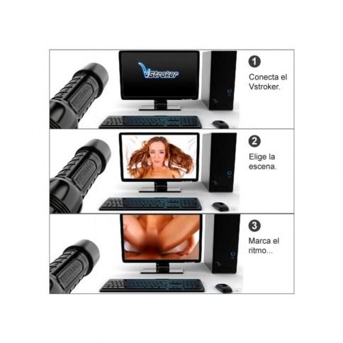 Fleshlight Simula ser el protagonista de la película, gracias a este adaptador, el vídeo porno se reproduce a la velocidad que uses tu masturabador, simulando que lo haces con tu pornstar favorita. Adaptador realidad virtual VStroker