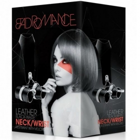 Bad Romance Leather Black-White Neck/Wrist Restraint Velcro