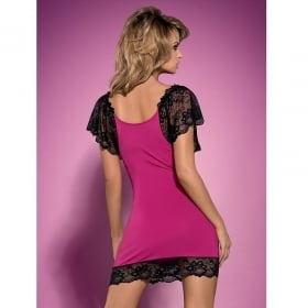 Imperia chemise & tanga rosa/negro