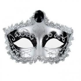 Mascara veneciana acabado plateada