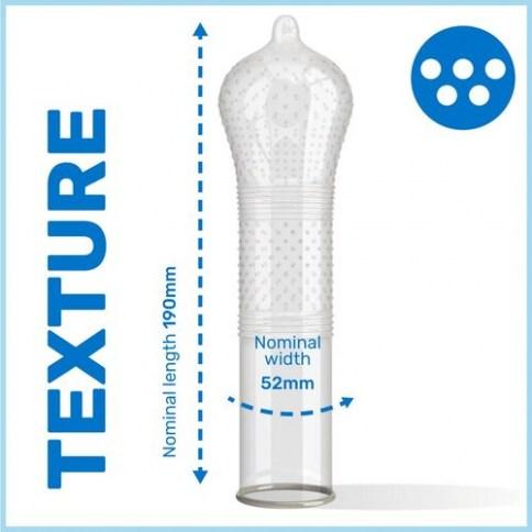 . Pasante Preservativo con puntos y estrías pleasuremax que incrementa la estimulación de ambos. Igual que el Durex Dame Placer. Estrías y Puntos 3 uds .