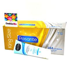 Pasante 144 Preservativos grandes, más anchos y largos que los normales. Un lubricante a escoger de regalo. Pasante XL + Lubricante