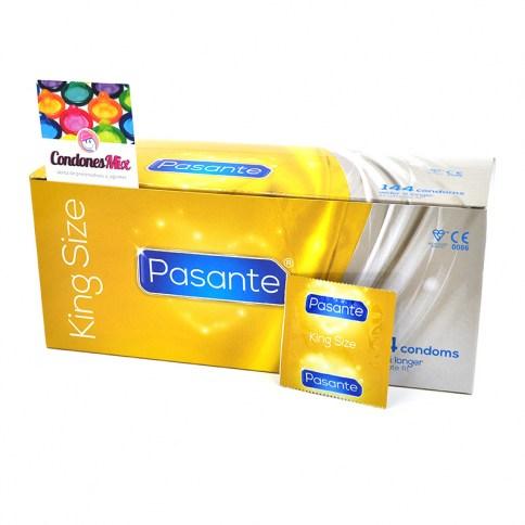 Pasante Condones más anchos, talla XL. Los más grandes y largos de la marca Pasante. 60 mm de ancho nominal, tamaño grande. King XL 144 uds