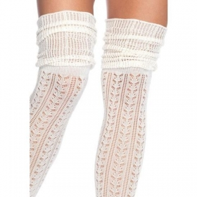 Calcetines puntilla fruncidos marfil