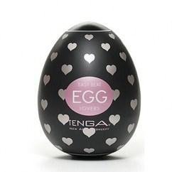 Tenga Huevo masturbador masculino con un relieve interior en forma de corazones. Modelo de forma transparente. Tenga Egg Lover