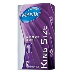 Manix Mates Preservativos de talla grande XL, extra grandes y extra largos, para aquellos que los normales se les quedan cortos. Forma Easy-Fit para facilitar su colocación. King Size 12 uds