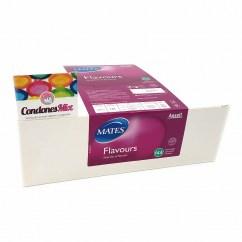 Manix Mates Caja de 144 condones con 4 sabores. Banana, fresa, arándano y vainilla. Forma acampanada. Preservativos de colores y sabores. Sabores 144 uds