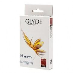 Glyde Condones sabor Mora, de forma recta. Fábricados con látex 100% natural de alto grado médico. Mora 10 uds