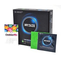 MySize Marca de preservativos My.Size, 7 diferentes tamaños para más seguridad talla 47. Condones estrechos. Talla 47 caja 36 uds