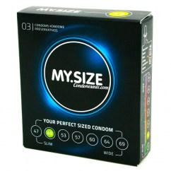 MySize Marca de preservativos My.Size, 7 diferentes tamaños para más seguridad . Condón de forma recta con talla estrecha 49 Talla 49 caja 36 uds