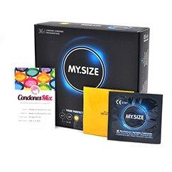 MySize Condón de forma recta para ganar un mayor ajuste. La talla 53, la talla más utilizada por el mercado, un tamaño estándar. Talla 53 caja 36 uds